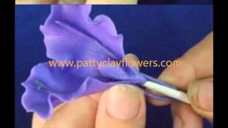 getlinkyoutube.com-How to make Clay Flower Iris tutorial / Polymer Clay / Sugar Craft / Cake Decoration DIY