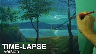 getlinkyoutube.com-Time-lapse Acrylic Painting Demo - Moonlight Over the Sea by JM Lisondra