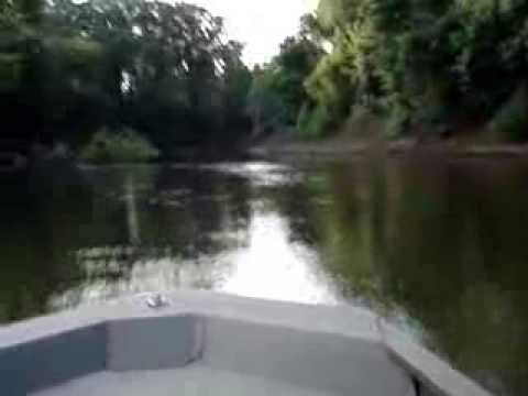 Extreme shallow water on Ocmulgee River in Jon Boat with Outboard Jet