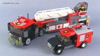 getlinkyoutube.com-LEGO custom Tiller Ladder & brush trucks - fire MOCs