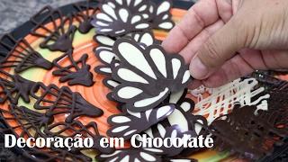 Como Fazer decoração para bolo com chocolate width=