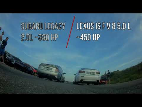 Drag Race Subaru Legacy vs Lexus IS F Roll on Fpv drone