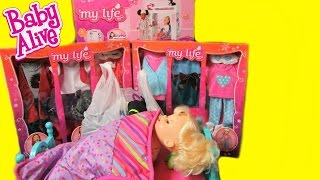 getlinkyoutube.com-Baby Alive Poops and Pees Doll shopping haul+ My Life as Loft Bed+doll bunk bed+Halloween Costumes