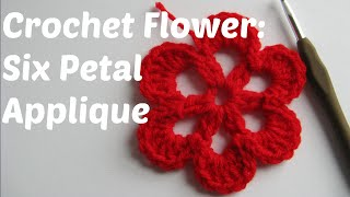 getlinkyoutube.com-Crochet Flower tutorial: six petal applique - Beginner Series