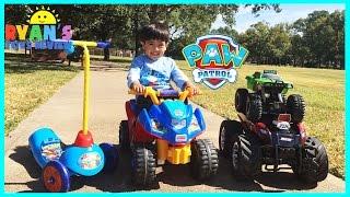 getlinkyoutube.com-PLAYTIME AT THE PARK PAW PATROL Power Wheels  Kinder Eggs Surprise Toys kids Video Monster Truck