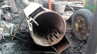 getlinkyoutube.com-Буржуйка из подножного материала. Гаража еще нет, а печь уже есть!