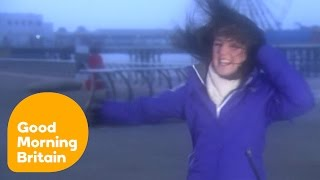 Storm Gertrude Blows Weather Reporter Off Her Feet On Blackpool Beach | Good Morning Britain