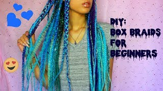 HOW TO | Blue, Purple, Green Box Braids For Beginners | Start to Finish