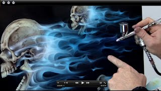 getlinkyoutube.com-How to Airbursh Real Fire & Skulls - Realistic Blue Flames