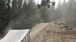 Buggy hits fmx ramp and gets airborne!