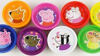 getlinkyoutube.com-Peppa Pig Cans Play Doh Surprise Eggs doug toys Angry Birds Egg