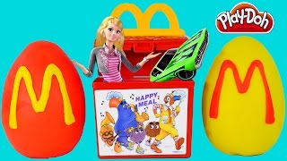 getlinkyoutube.com-HAPPY MEAL Surprise Eggs McDonald's Toy Play Doh Egg Barbie Hot Wheels Cars Bratz Huevos Sorpresa