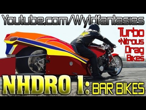 NHDRO 1: Turbo and Nitrous vs Supercharged dragbike, bar bike motorcycle drag racing