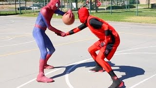 getlinkyoutube.com-Spiderman vs Deadpool Basketball ...SuperHero Basketball