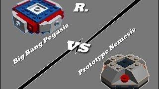 getlinkyoutube.com-Lego Beyblade 4D Big Bang Pegasis vs Prototype Nemesis-Remake Battle