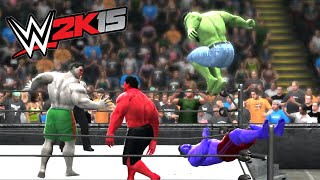 getlinkyoutube.com-HULK & RED HULK VS BLUE HULK & GREY HULK - EXTREME RULES TORANDO TAG TEAM MATCH - WWE 2k15