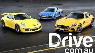 getlinkyoutube.com-Mercedes-AMG GT S v Porsche 911 GT3 v Audi R8 LMX Track Comparison