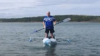 getlinkyoutube.com-kayak test on the water with home made outriggers or stabilizers