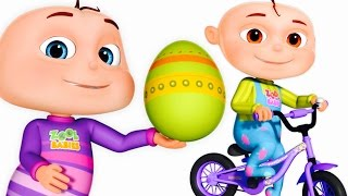 getlinkyoutube.com-Five Little Babies Opening Surprise Eggs | Transport Vehicles For Children | Zool Babies Fun Songs