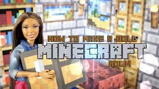 getlinkyoutube.com-DIY - How to Make: Doll Minecraft Room - Handmade - Doll - Video Game - Crafts