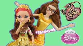 getlinkyoutube.com-Ever After High Rosabella Beauty and Disney Princess Belle Doll Review and Comparison