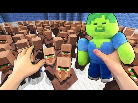 Realistic Minecraft - 1 ZOMBIE VS 100 VILLAGERS