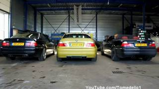 getlinkyoutube.com-3x M3 E46 Playing! - Stock VS Eisenmann Race VS Supersprint Race/X-Pipe - Burnouts And More!