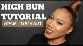 getlinkyoutube.com-Natural Hair| Faux Top Knot Bun