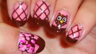 getlinkyoutube.com-Brown and Pink Owl Nail Art