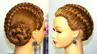 getlinkyoutube.com-Braided updo, hairstyle for long hair.  French braids