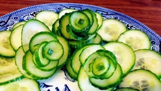 getlinkyoutube.com-How To Make Cucumber Rose Flower | Vegetable Carving Garnish | Roses Garnish - Italypaul.co.uk