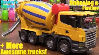 Kid's Toy Trucks: Bruder Scania Cement Truck Unboxing and Playtime + More Bruder Trucks!