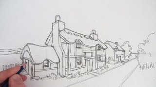 getlinkyoutube.com-How to Draw a Cottage House in Two-Point Perspective