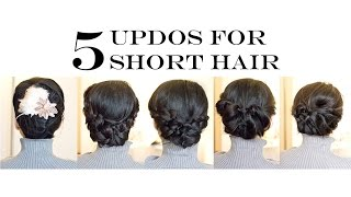 getlinkyoutube.com-How-To for Short/Medium Hair | 5 Easy Updo Hairstyles (No-Heat)