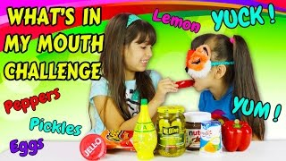 getlinkyoutube.com-WHAT'S IN MY MOUTH CHALLENGE with Peppers, Lemon, Pickles and more disgusting - fun food