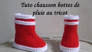 TUTO BOTTES DE PLUIE MARIN BEBE AU TRICOT FACILE bootie knitting baby boots