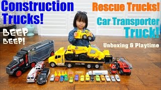 Diecast Cars Carrying Case, A Car Transporter Truck. Construction Trucks, Fire Trucks and Police Car