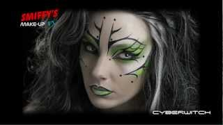 getlinkyoutube.com-Cyber Witch Face Painting Halloween Make-up Tutorial