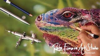 getlinkyoutube.com-Painting Iguana / Airbrush Iguana (Rafa Fonseca Art Studio)