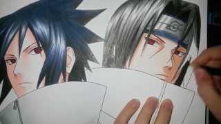 getlinkyoutube.com-Speed Drawing - Uchiha Sasuke and Uchiha Itachi (Naruto)