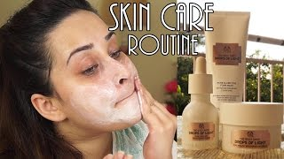 getlinkyoutube.com-TheBodyShop Drops of Light Skin care Routine | Review |