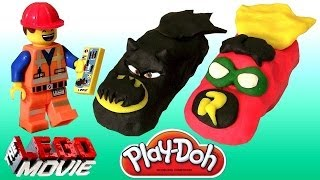 getlinkyoutube.com-DK The Lego Movie Playdoh Superheroes Cars Batman Robin Batmobile Emmet of Bricksburg Toy Surprise