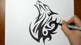 getlinkyoutube.com-How to Draw a Tribal Wolf - Sketch 1