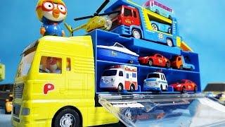 getlinkyoutube.com-뽀롱뽀롱 뽀로로 캐리어카와 타요 미니카 장난감 Pororo Carrier Tayo the litttle bus mini Car toys