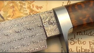 getlinkyoutube.com-Damascus steel: Making a special twisted multibar blade. Part II: Handle making.