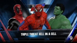 WWE 2K16 Deadpool vs spiderman vs hulk Hell in a cell