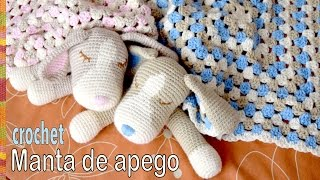 getlinkyoutube.com-Colcha con perritos dormilones o manta de apego tejida a crochet (cuadrado granny y amigurumi)