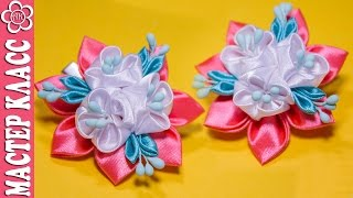 getlinkyoutube.com-Маленькие заколочки Канзаши мастер класс / Kanzashi DIY