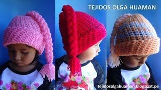 getlinkyoutube.com-Gorro con trenza para bebe o niña tejido a crochet