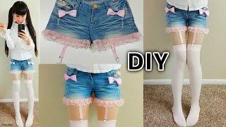 getlinkyoutube.com-DIY Lace up Suspender Garter Shorts | DIY Harajuku Japanese Fashion